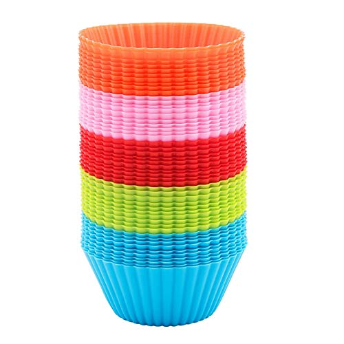 Silicone Cupcake 50 PCS, Baking Cups Liners, Reusable Non-stick Muffin Cups Cake Molds Standard, Multi-Color