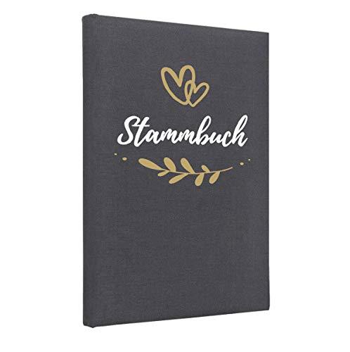 Hochzeitideal Stammbuch der Familie, Familienstammbuch 'Fiore' aus Buchbinderleinen (Grau)