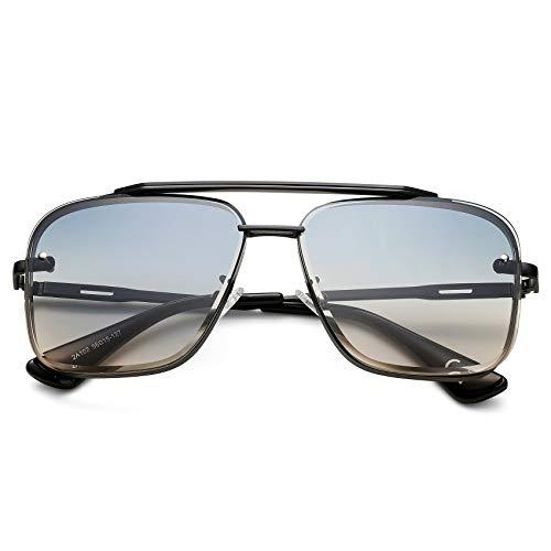 COASION Tony Stark Sunglasses Costume Eyewear Retro Square Aviator Sun Glasses Frames for Men Women (Black/Gradient Blue)
