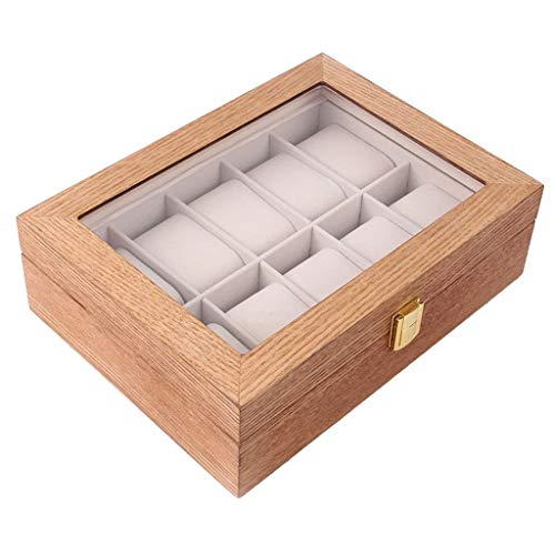 Aiglen 10 ranuras Caja de reloj de madera Caja de presentación Almacenamiento de vidrio Soporte de exhibición de reloj superior Almacenamiento de reloj de moda (Color : Brown)