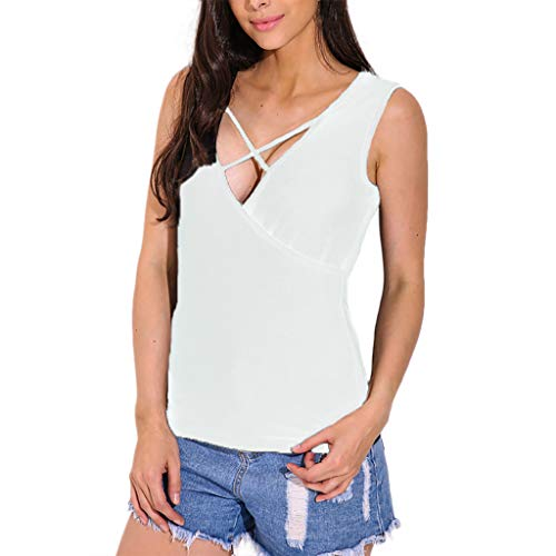 Good Vibes Sleeveless Shirt, Knit Tunic,Fashion Women V-Neck Front Cross Sleeveless Casual Solid Top Blouse Vest Tank White
