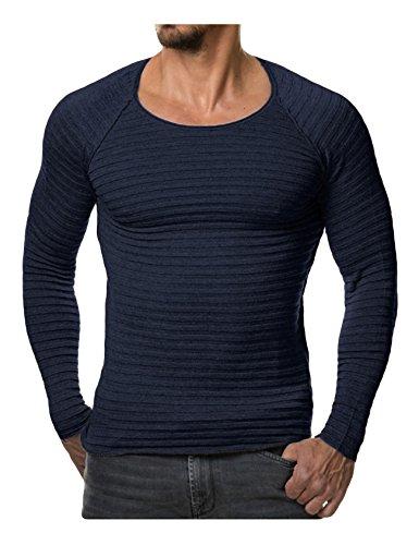 Legou Homme Sweat en Tricot Shirt de Sport struire Bleu Marine Small