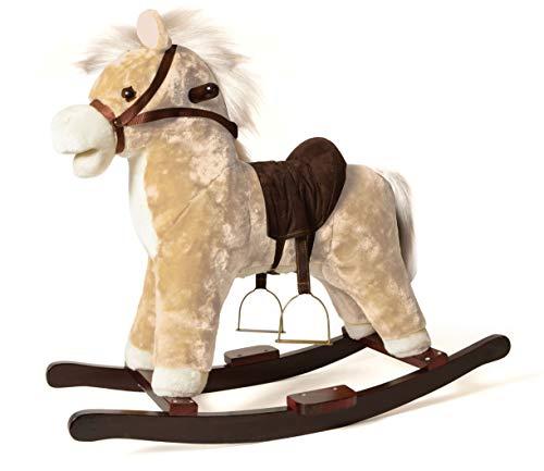 DE. CAR Cavallo a Dondolo per Bambini 1 Anno 2 Anni 3 Anni 4 Anni in Legno con Verso Reale funzionante 78x22x48(h)
