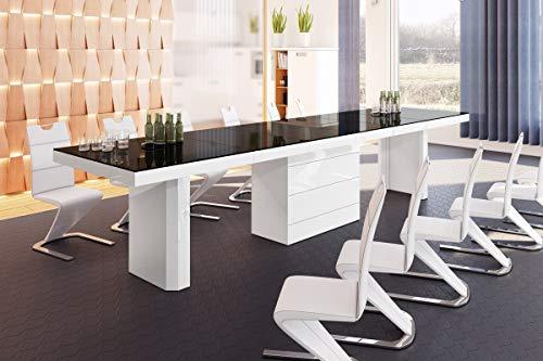 HU Design Konferenztisch HE-777 XXL ausziehbar in 7 Farben erhältlich 140 bis 332 cm (Schwarz/Weiß Hochglanz)