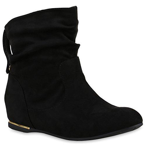 Flache Damen Stiefeletten Wildleder-Optik Boots Schlupfstiefel Trendy Schuhe 123316 Schwarz Carlet 38 Flandell
