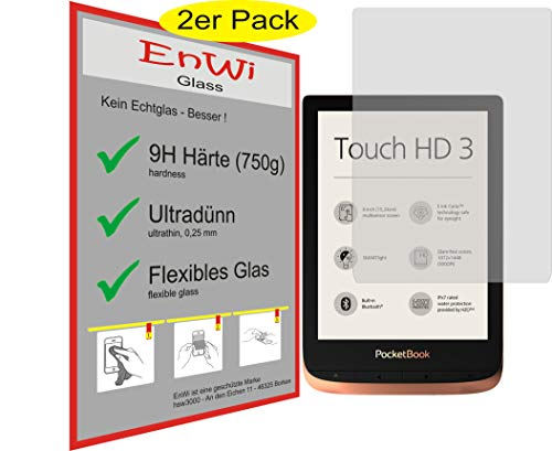 EnWi | 2X Panzerfolie Panzerschutzfolie 9H Bildschirm-Schutz-Folie für Pocketbook Touch HD 3