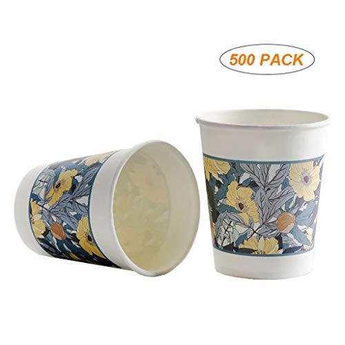 Mass-Party-Cups 500 wegwerppapieren bekers (7,8 oz) Party-Cup Home wegwerpbeker voor warme dranken, thee, koffie, verdikt en verhard milieuvriendelijk recyclebaar, duurzaam papier, wegwerp koud gedrogen