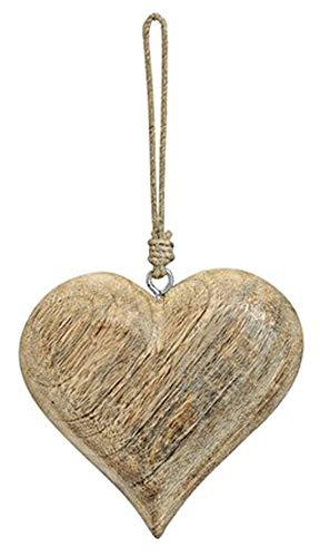 TEMPELWELT Deko Anhänger Herz Herzchen Ø 12 cm, Mango Holz Natur Zum Hängen, Holzdeko Fensterschmuck Türschmuck Holzschmuck Massiv