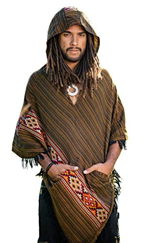 Handmade Brown Bronze Hooded Mens Poncho Cashmere Wool with Large Hood and Pockets Jungle Primitive Gypsy Festival Mexican Tribal Embroidered Celtic Earthy Winter Tibetan AJJAYA Wild …
