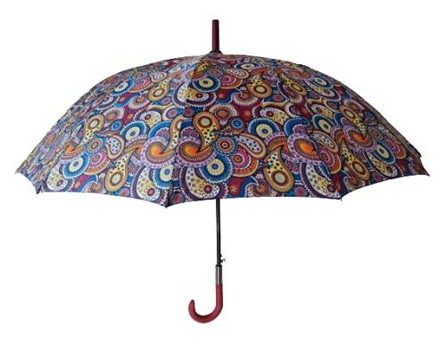Goods4good Paraguas XXL Grande 65cm Diseño Mandala Multicolores Mujer/Hombre 12 Varillas Resistente al Viento Largo Automático