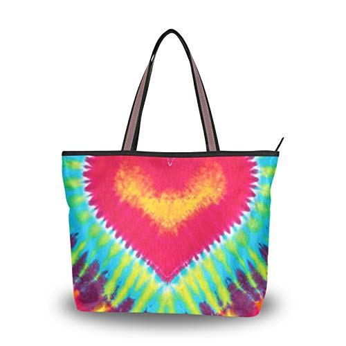 Handbags Purse Shopping Shoulder Bags Abstract Heart Tie Dye Light Weight Strap for Women Girls Ladies Student Tote Bag