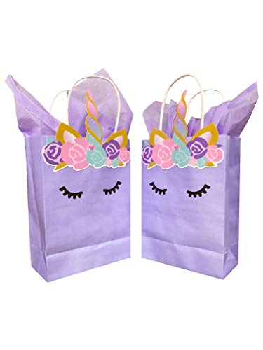 Quokkaloco Unicorn Birthday Party Favors Bags - Supplies Decorations Decor -'Luxe' Unicorn Theme for Girls or Boy - Favor Treat Toys Candy Popcorn Goodie Bags with Handles (Set of 10) (Lavender)