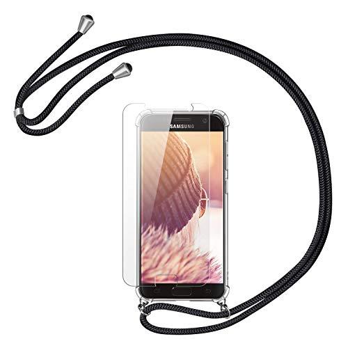 Handykette Handyhülle mit Band für Samsung Galaxy S7 Cover - Handy-Kette Handy Hülle mit Kordel Umhängen -Handy Halsband Lanyard Case/Handy Band Halsband Necklace