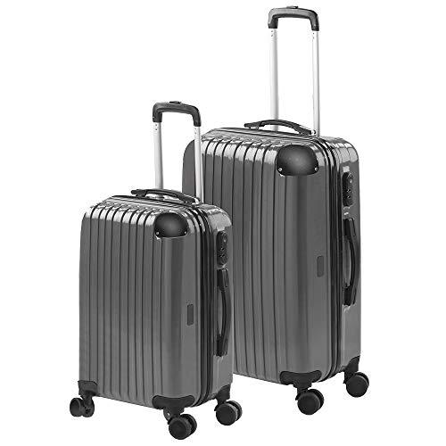 Gridinlux | Juego de 2 Maletas de Viaje | Mediana (65x39x24) Pequeña (55x33x21) Set Viaje Trolley | Sistema de Seguridad | ABS | Rígidas Resistentes y Duras | 4 Ruedas | Cómodas y Ligeras | Gris