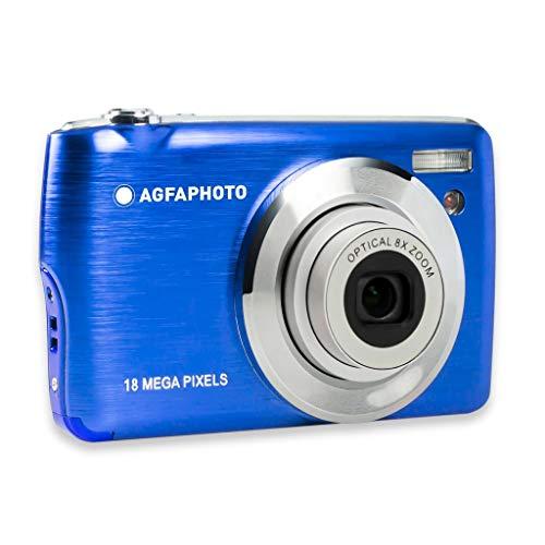 AGFA Photo Realishot DC8200 - Fotocamera digitale compatta (18 MP, video Full HD, schermo LCD da 2,7', zoom ottico 8x, batteria al litio e scheda SD da 16 GB), colore: blu