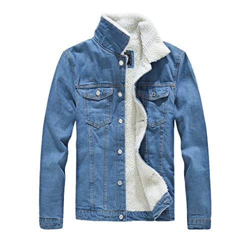 MAYOGO Herren Type 3 Sherpa Trucker-Jacke Fleece Warm Gefüttert Denim Jacket Herren Jeans Jacken Slim fit (Hellblau, XL)