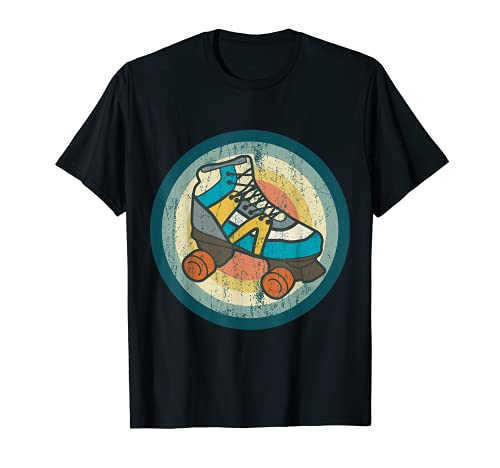 Rollschuhe Tshirt RETRO ROLLER SKATES Geschenk Roller Disco T-Shirt