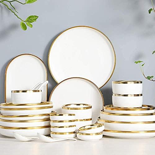Juego de platos, Conjuntos de vajillas Servicio para 2/4/6, platos de cocina y cuencos Conjuntos Blanco, Luxury Bone China Vajilla, Juego de platos de porcelana de halo de oro nórdico incluye platos p
