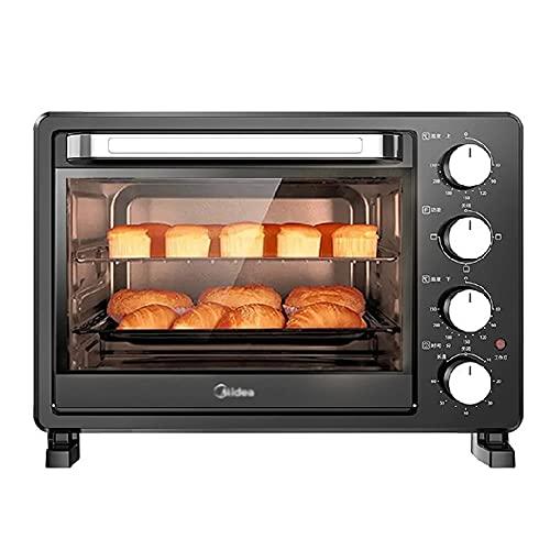 horno electrico de sobremesa Mini horno Hogar Cake multifuncional Hornear 25L Capacidad Control de temperatura independiente y preciso 60min Tiempo preciso Espacio grande para asar en cuatro pisos Peq