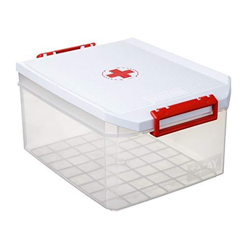 Tatay Caja Botiquín Primeros Auxilios con Tapa Gran Capacidad plástico Polipropileno 14 litros, Blanco, 27 x 39 x 19 cm
