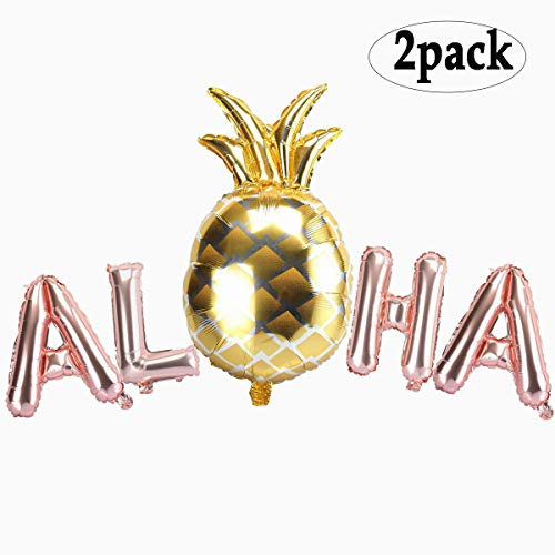 BinaryABC Aloha Balloons,Hawaiian Balloons, for Summer Party, Tropical Party, Hawaii Party, Pool Party, Beach Party 2Pack