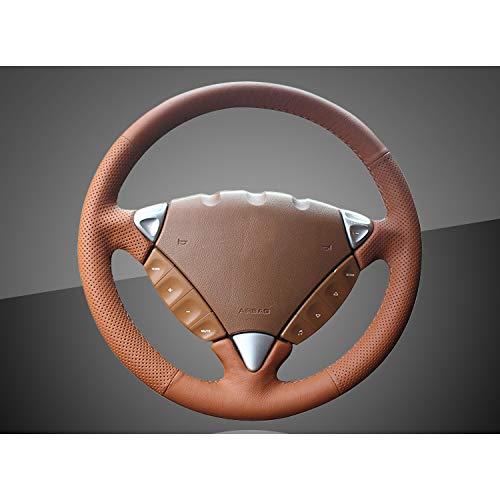 QCCOKNN Handnähen Autolenkradabdeckung, für Porsche Cayenne 2007-2010 Auto Braid auf der Lenkradabdeckung Innenzubehör