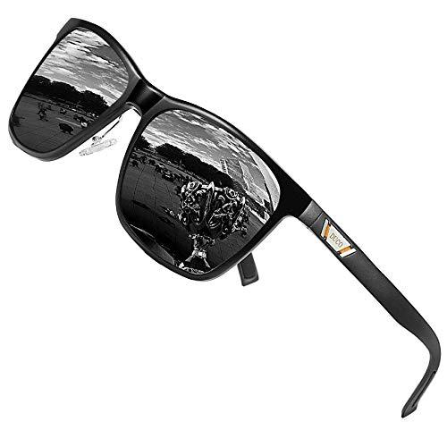 HAOHANYOUPIN Unisex-Sonnenbrille aus Metall, quadratisch, polarisiert, mit UV400-Schutz, für Outdoor-Sport, 3029H, Sonnenbrille für Herren (Farbe: schwarzer Rahmen, graue Gläser)