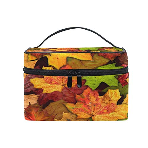 Makeup Bag, Autumn Leaves Portable Travel Case Large Print Cosmetic Bag Organizer Compartments for Girls Women Lady