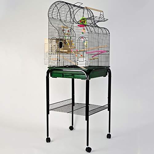 YUESFZ Jaulas para pájaros Jaula De Lujo para Loros De Metal Grande, Jaula De Cría De Piel De Tigre Monje Al Aire Libre, Estante De Juguetes para Pájaros Pequeños Y Medianos