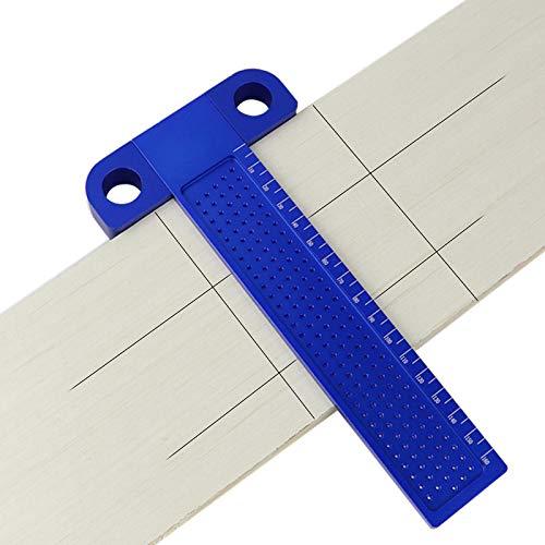 CarAngels 木工 T型スコヤ 直接マーキングできる定規 直角型 ゲージ 測定 高精度 1mm 穴間隔 アルミ製 大工ケガキ工具 T-160 (ブルー)