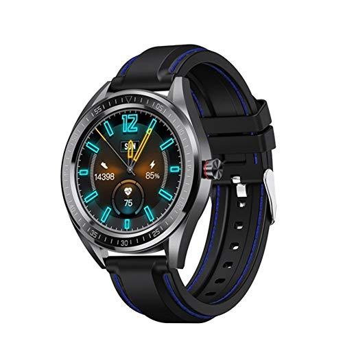 Xingyu Reloj inteligente práctico SN82 1.28 pulgadas pantalla IP68 resistente al agua frecuencia cardíaca presión arterial DIY UI Face Smartwatch mujer para Android (color negro azul)