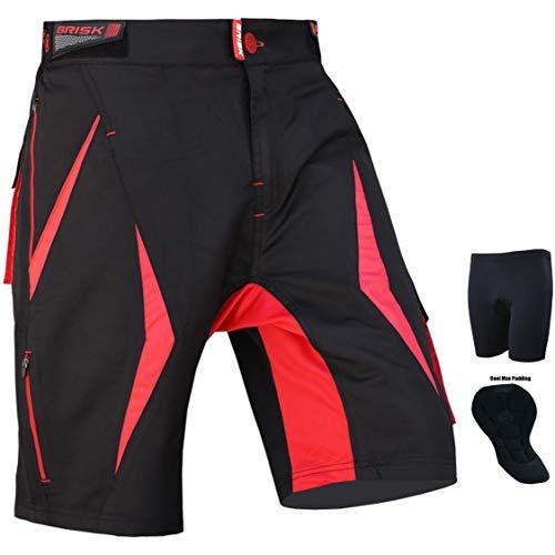 Brisk MTB, Pantaloncini Coolamax Imbottiti e Rimovibili, Free Style, per Adulti, Taglia Piccola