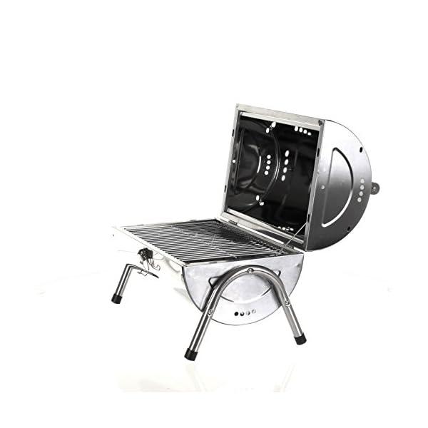 Marko Silver Portable Barrel BBQ Barbecue Steel Table Top Outdoor Garden Camping Picnic 2