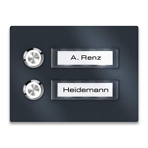 Aufputz Klingelplatte Anthrazit RAL7016 Klingeltableau Renz Namensschild Mehrfamilien (2 Fach)