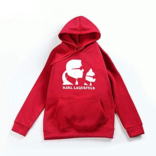 DHXYY Sweatshirt Sports Sweater Jugend Sweatshirt Unisex Sweatshirt Freizeit Sweatshirt Karl Lagerfeld Hoodie,Rot,XL