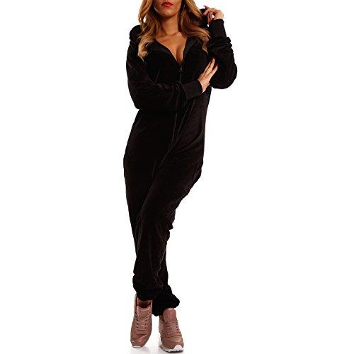 Crazy Age Damen Jumpsuit aus Samt (Nicki, Velvet) Wohlfühlen mit Style. Elegant, Kuschelig, Weich. Overall, Ganzkörperanzug, Jogging - Freizeit Anzug, Onesie (Schwarz, XXL)