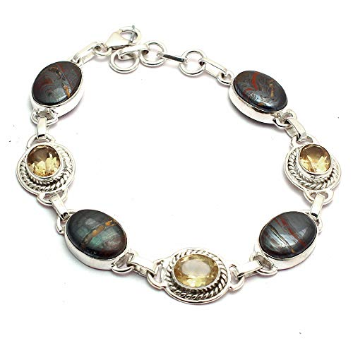 Genuine Iron Tiger Eye + Citrine Bracelet 925 Sterling Silver, 21 cm, GRPB0429