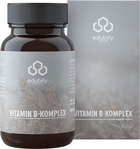 Vitamin B Komplex von edubily® Fein abgestimmt mit Hydroxocobalamin und Methylcobalamin Komplex, Methyl Folat & weiteren B-Vitaminen. 90 Kapseln im Braunglas.