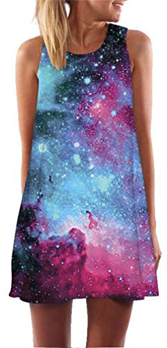 Ocean Plus Mujer Vintage Vestido Sin Mangas Cuello Redondo Vestido de Playa Vestido de Tirantes Camisetas Camisa Corta Vestido de Blusa (S (EU 34-36), Galaxia Azul Violeta)