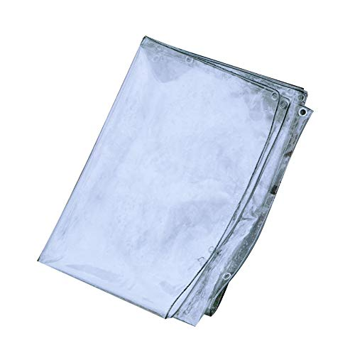 ZKORN Glass Clear Tarpaulin Waterproof Heavy Duty Transparent Tarp With Eyelets Thicken Pvc Soft Glass Balcony Rain Curtain, Highly Transparent Pvc Soft Crystal, 0.3mm Thickness(1.8 * 3m(5.9 * 9.8f))
