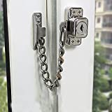 Stainless Steel Window Chain Lock Guard Door Restrictor Child Safety Security Chain Lock for Flat Open Windows Anti Theft Home Hardware Opening Restrictor Lock with Key