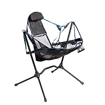 Portable Heavy Duty Outdoor Folding Camping Chair for Adults Kids?Aluminum Alloy luxury Camping Chair Backrest Folding Swing Chair Recliner Chair for Camping?Lawn?Beach?Picnic?Travel?Stargaze (blue)