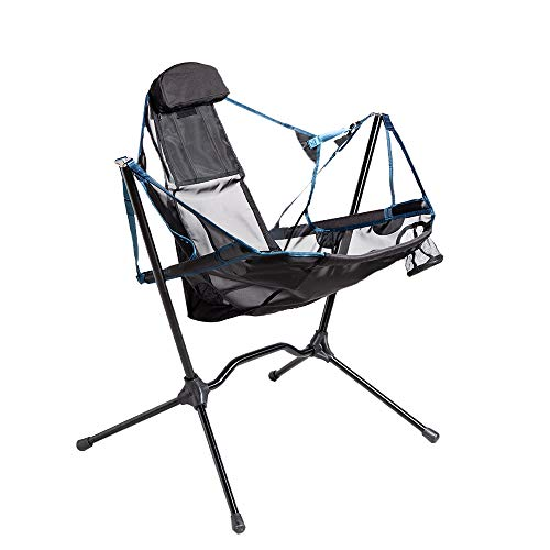 Portable Heavy Duty Outdoor Folding Camping Chair for Adults Kids,Aluminum Alloy Luxury Camping Chair Backrest Folding Swing Chair Recliner Chair for Camping,Lawn,Beach,Picnic,Travel,Stargaze (Blue)