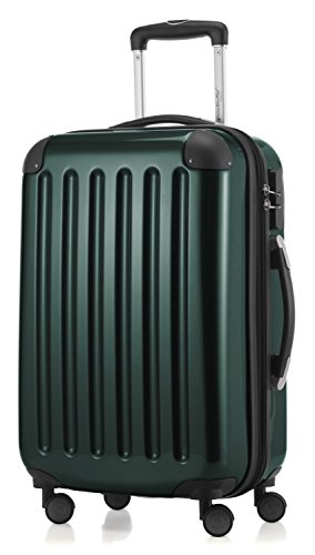 HAUPTSTADTKOFFER - Alex- Carry on luggage On-Board Suitcase Bag Hardside Spinner Trolley 4 Wheel Expandable, 55cm, dark green