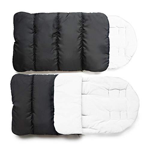 lossomly - Alfombrilla universal para cochecito de bebé (algodón, acolchada, transpirable, acolchado para los pies, cómodo, resistente al viento, caliente, de algodón) Blanco