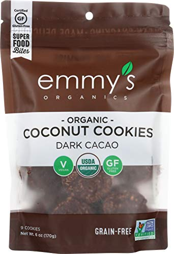 Emmy's Organics, Coconut Cookies - Dark Cacao, 6 oz (Pack of 8)