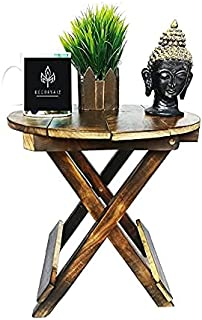 DECORVAIZ Wooden Antique Royal Look Beautiful Folding Table - 12 INCH { Round }