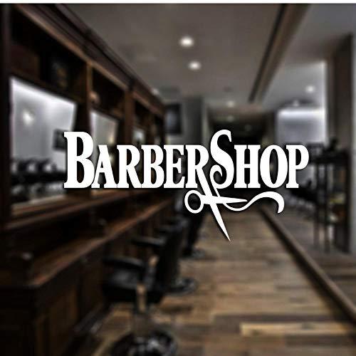 MRQXDP Barber Shop Sticker op maat Decal Posters Vinyl Wall Art Decor Ramen Decoratie Haircut Shavers Glass Decals 40x87cm Muursticker