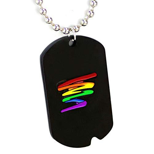 Brillante Arco Iris Etiqueta de Perro de Acero Inoxidable Negro Iris Orgullo Gay Garabato Gay y Lesbiana LGBT Orgullo Collar