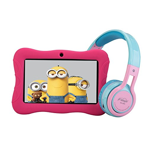 """Contixo 7"""" Educational Learning Kids Tablet & Kid Safe 85dB Bluetooth Over The Ear Headphones Bundle (Pink)"""